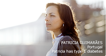 Type 1 patient (Patricia) outside against the sun