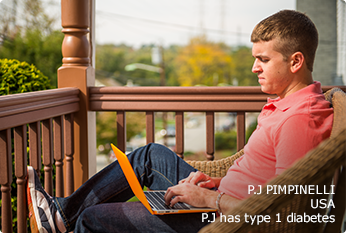 Type 1 patient (P.J) on laptop, sitting outside