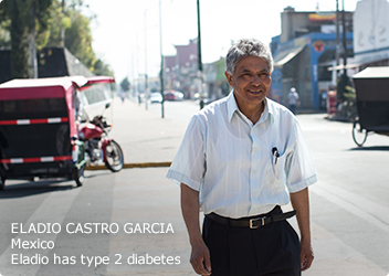 Type 2 patient (Eladio) walking down street