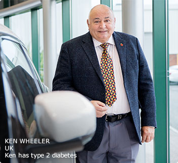 Type 2 patient (Ken) standing next to a car