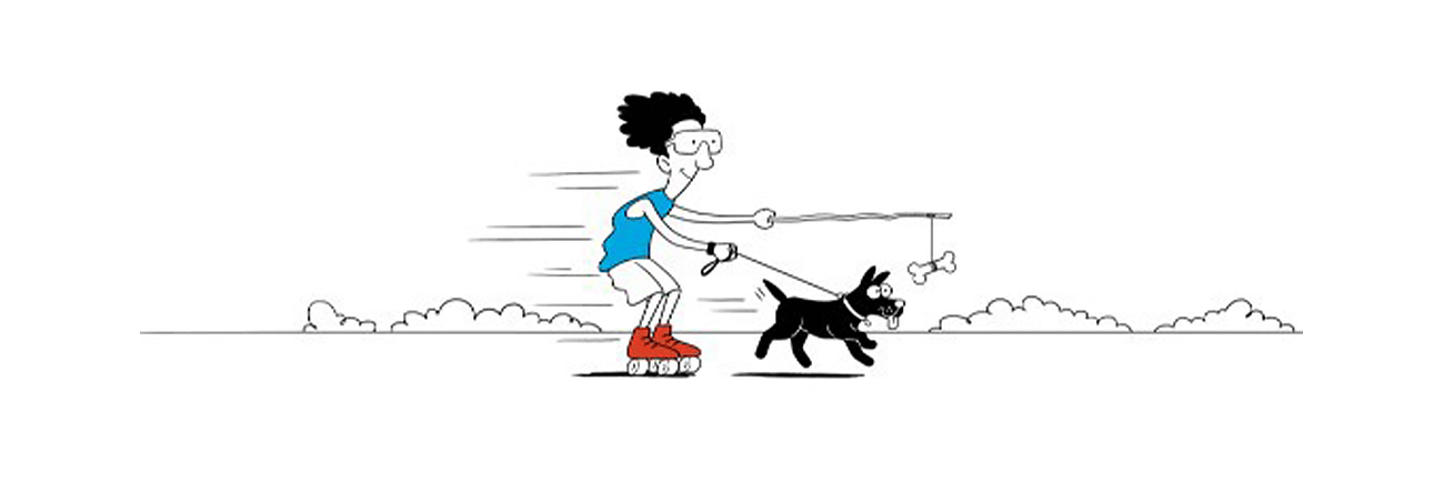 drawing of a man on rollerskates - driven by a dog running after a bone tied to a stick held by the man