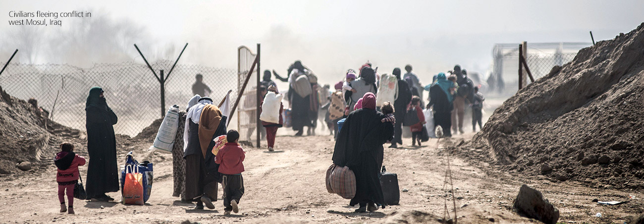 Civilians fleeing conflict in west Mosul, Iraq